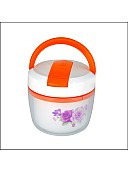 Lunch box with inside single ceramic layer (White with Green/Orange effect)