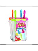 Plastic icepopsicle maker set of 4 (white colour with multicolour caps)