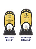 Premium wooden trophy with crystal ball and 4 stars