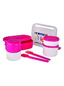High Quality Plastic lunch box for kids (Pink/Blue)