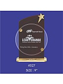 Premium Wooden Trophy With Round Crystal Sheet